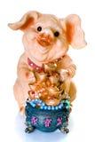 Regalo cinese di ceramica del maiale di nuovo anno Immagini Stock Libere da Diritti
