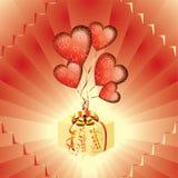 Regalo con gli aerostati rossi sotto forma di cuore illustrazione vettoriale