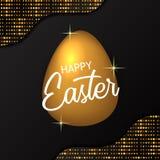 Regalo costoso di lusso dell'uovo dorato con fondo nero con scintillio dell'oro per il partito di pasqua illustrazione di stock