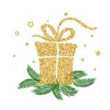 Regalo d'annata di vettore dell'oro per le feste di Natale Per la pagina della lista di progettazione del modello di arte, stile  illustrazione di stock