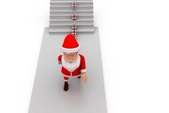 regalo de 3d Papá Noel en concepto de las escaleras Imagenes de archivo