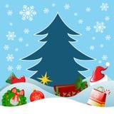 Regalo de la Navidad con el árbol de pino Imagen de archivo libre de regalías