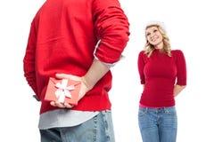 Regalo de la Navidad de la sorpresa Imágenes de archivo libres de regalías