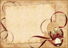 Regalo de la Navidad de la vendimia, marco con el lugar para su Imágenes de archivo libres de regalías