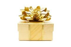 Regalo de la Navidad del oro Fotografía de archivo