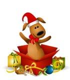 Regalo de la Navidad del perro de perrito Imagen de archivo libre de regalías