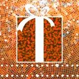 Regalo de la tarjeta del día de San Valentín sobre mosaico del brillo. EPS 8 Foto de archivo libre de regalías