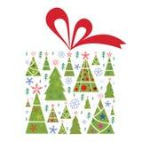 Regalo de los árboles de navidad Fotografía de archivo