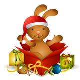 Regalo de Navidad del conejito Imagen de archivo
