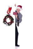 Regalo de Navidad del hombre de negocios Fotos de archivo