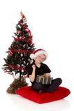 Regalo de Navidad del muchacho Fotos de archivo