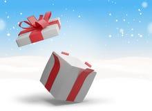 Regalo de Navidad en la nieve 3d-illustration Stock de ilustración