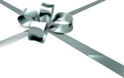 Regalo de plata de la cinta del arco Fotos de archivo libres de regalías