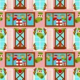Regalo de vacaciones de invierno de la Navidad que almacena la tarjeta de felicitación inconsútil de la ventana de la casa de la  Fotografía de archivo libre de regalías