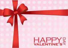 Regalo dei biglietti di S. Valentino con l'illustrazione rossa di vettore del nastro Immagine Stock Libera da Diritti