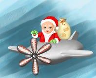 Regalo del Babbo Natale il Babbo Natale e nuovo anno, natale, cartolina d'auguri, saluto, cartolina, inverno, stagione invernale, royalty illustrazione gratis