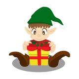 Regalo del lazo del duende de la Navidad Foto de archivo libre de regalías