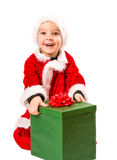 Regalo del muchacho y de la Navidad Foto de archivo libre de regalías