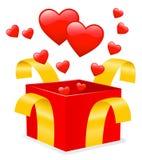 Regalo del `s de la tarjeta del día de San Valentín Fotos de archivo