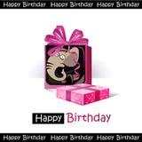 Regalo dell'elefante di sorriso di buon compleanno Immagine Stock Libera da Diritti