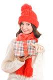 Regalo della holding della donna che dà i pollici in su Immagine Stock