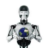 Regalo della terra dall'essere umano futuristico Immagini Stock