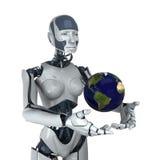Regalo della terra dall'essere umano futuristico Immagine Stock Libera da Diritti
