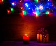 Regalo delle luci di Natale Fotografia Stock Libera da Diritti
