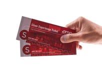 Regalo dello schermo d'argento con i biglietti di film del AMC Fotografia Stock