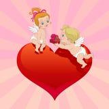 Regalo di angelo di giorno del biglietto di S. Valentino Immagini Stock