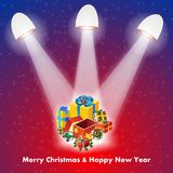 Regalo di Natale con le luci Fotografia Stock Libera da Diritti