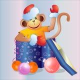 Regalo di Natale con una scimmia di divertimento Fotografia Stock Libera da Diritti