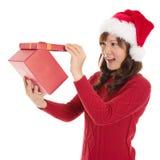 Regalo di Natale di apertura Fotografie Stock Libere da Diritti