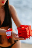 Regalo di Natale in mani sulla spiaggia Immagine Stock