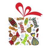 Regalo di Natale in pieno delle caramelle Fotografie Stock Libere da Diritti