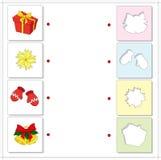 Regalo di Natale, stella, guanti e campane Gioco educativo per Immagine Stock