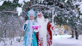 Regalo di tenuta nubile sorridente del nuovo anno della neve di Snegurochka e di Ded Moroz Father Frost video d archivio