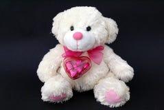 Regalo di un orsacchiotto con un contenitore in forma di cuore di cioccolato Fotografia Stock