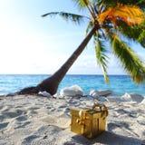 Regalo dorato sulla spiaggia dell'oceano Fotografia Stock