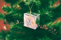 Regalo en el árbol de navidad Foto de archivo libre de regalías