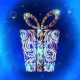Regalo estilizado de los elementos del ornamento celebraci?n Navidad A?o Nuevo Cumplea?os Copos de nieve libre illustration