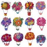 Regalo floral hermoso del aire-globo del vector del aerostato del ramo con el sistema de florecimiento del ejemplo de las flores  ilustración del vector