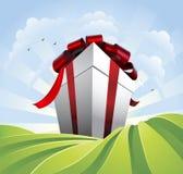 Regalo gigante en campos stock de ilustración