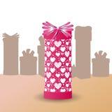 Regalo in imballaggio Giorno del biglietto di S. Valentino s Fotografia Stock