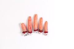 Regalo misterioso Tric di orrore di cinque di Halloween del dito regali dei rifornimenti fotografia stock libera da diritti