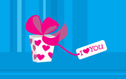 Regalo per il giorno del biglietto di S. Valentino con il amore-massaggio Immagine Stock