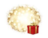 Regalo rojo con el arqueamiento del oro Imagen de archivo libre de regalías