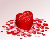 Regalo romanzesco della scatola rossa di saluto per il giorno del biglietto di S. Valentino s royalty illustrazione gratis