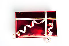 Regalo rosso della casella. Parte superiore di vista Fotografia Stock
