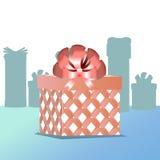 Regalo in scatola con il rosa dell'arco un rettangolo Immagini Stock